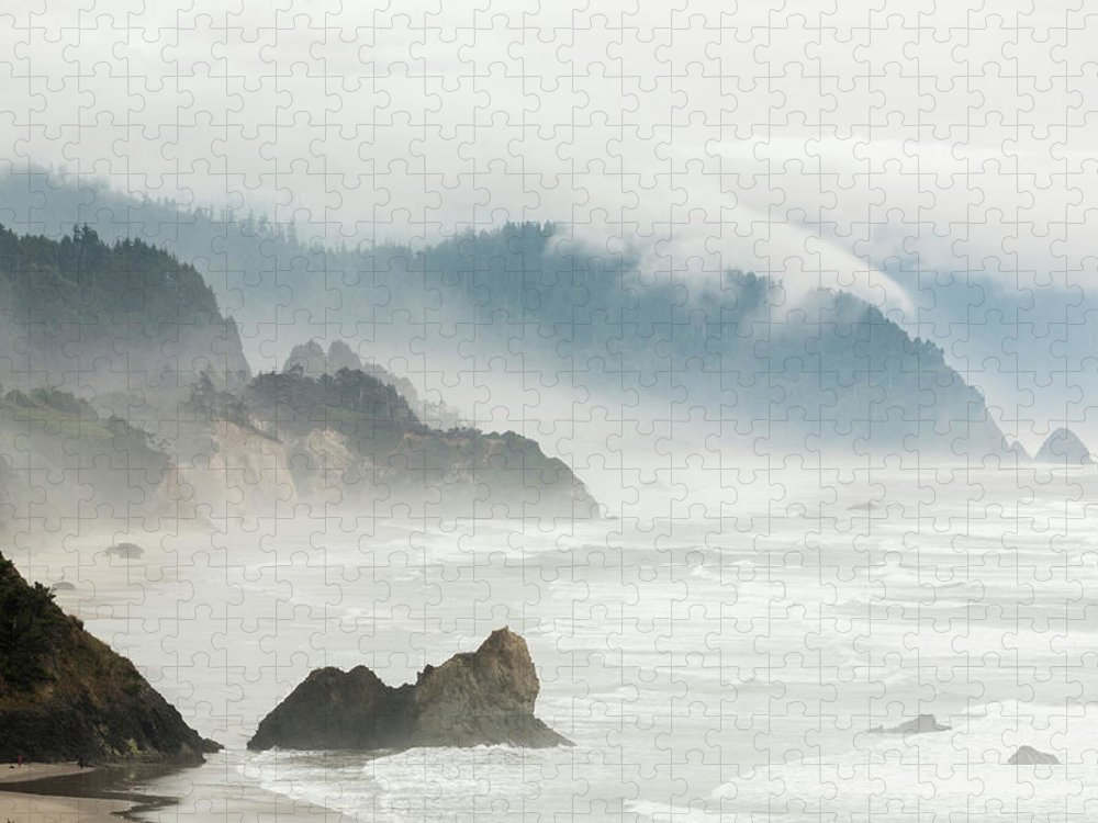 Scenics Puzzle featuring the photograph Fog Shrouded View Of Rocky Coastline by Win-initiative