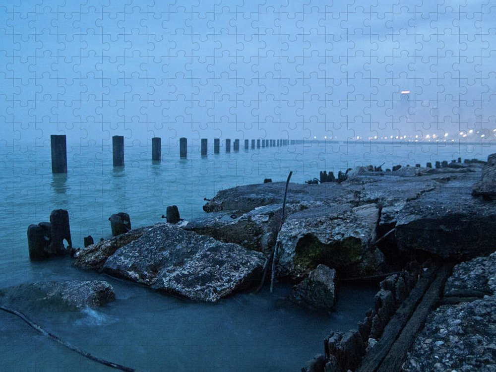 Lake Michigan Puzzle featuring the photograph Foggy View Of Chicago From Lakeshore by Megan Ahrens