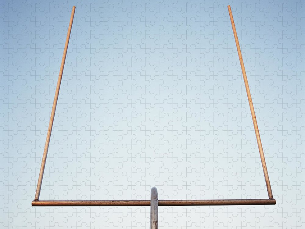 Goal Puzzle featuring the photograph Football Goal Post by Mike Powell