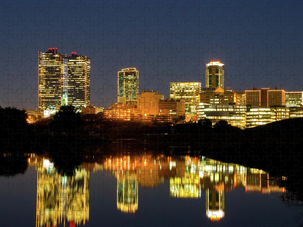 Downtown District Puzzle featuring the photograph Fort Worth Downtown Evening Skyline by Davel5957