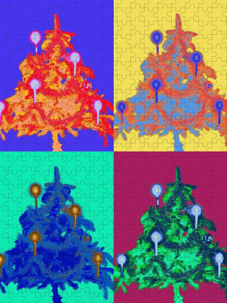 Celebration Puzzle featuring the photograph Four Christmas Trees Decorated With by Peter Weber