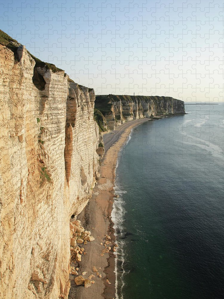 Scenics Puzzle featuring the photograph France, Normandy, Cliffs Of Etretat by Hiroshi Higuchi