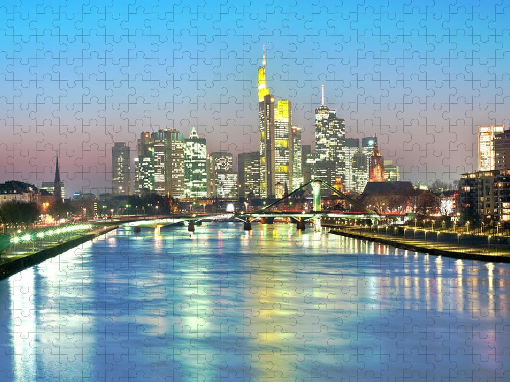 Hesse Puzzle featuring the photograph Frankfurt Night Skyline by Ixefra
