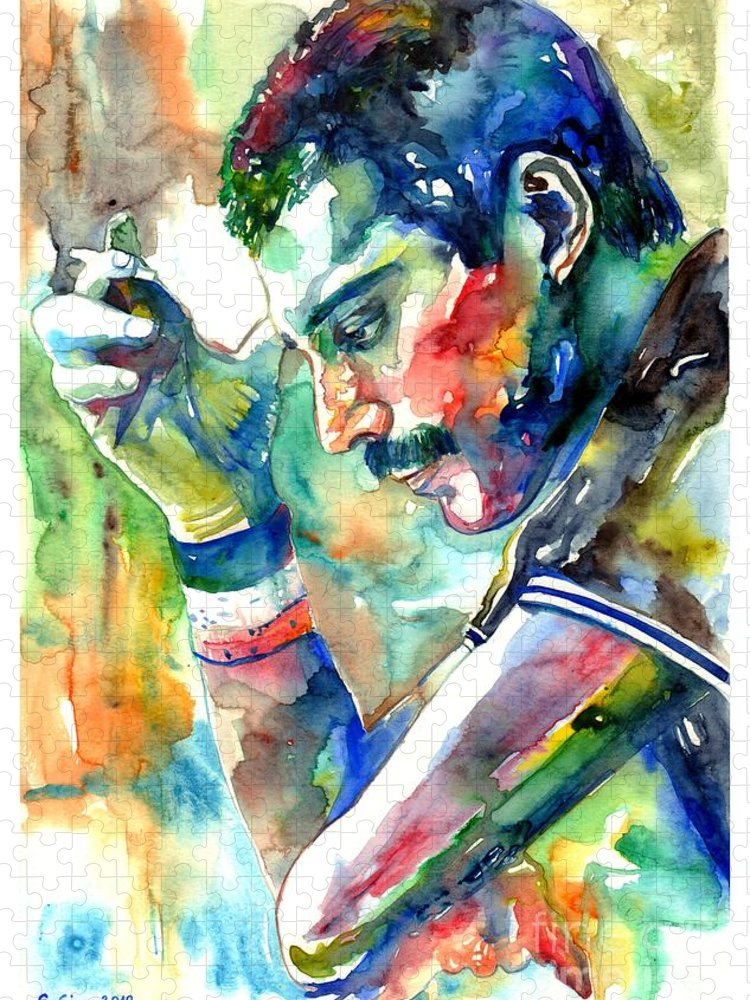 Freddie Mercury Puzzle featuring the painting Freddie Mercury With Cigarette by Suzann Sines