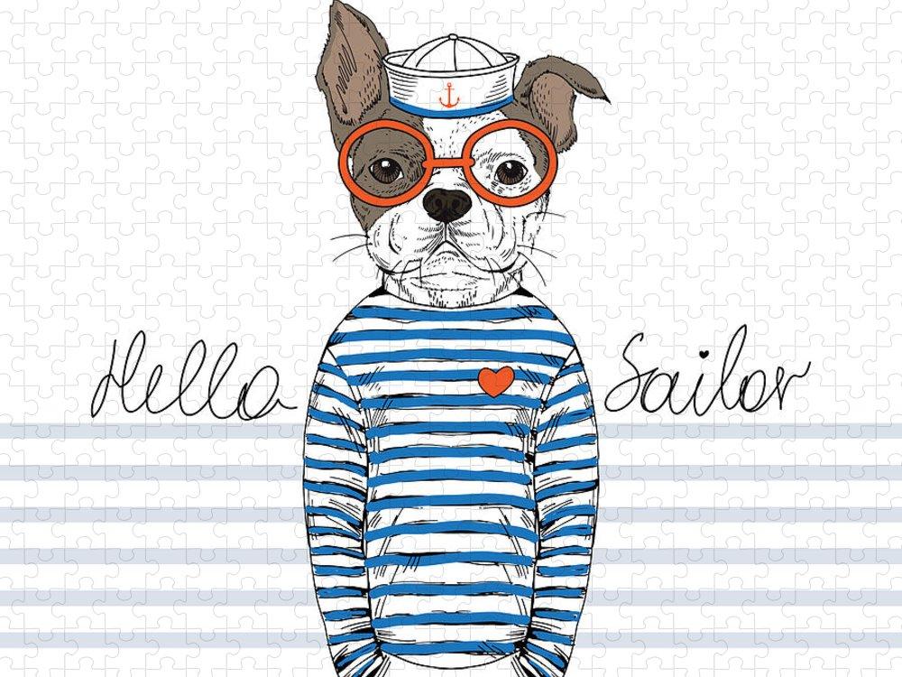 Small Puzzle featuring the digital art French Bulldog Sailor Nautical by Olga angelloz