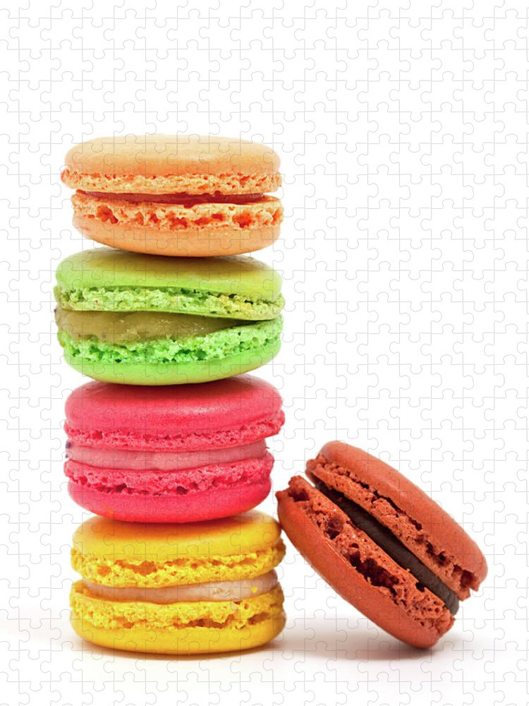 White Background Puzzle featuring the photograph French Macaroons by Ursula Alter