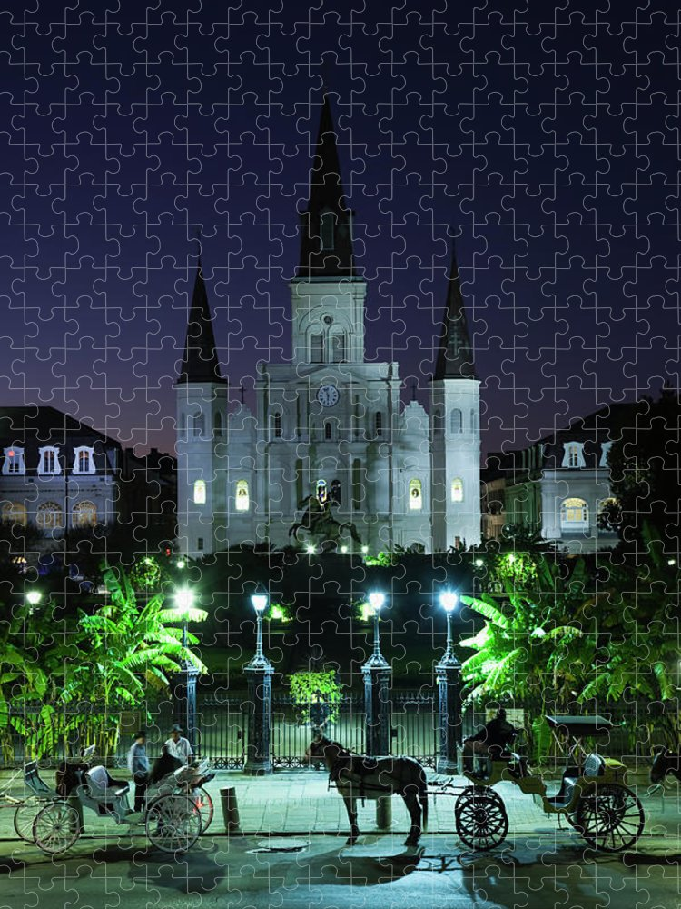 Clear Sky Puzzle featuring the photograph French Quarter, St. Louis Cathedral by Walter Bibikow