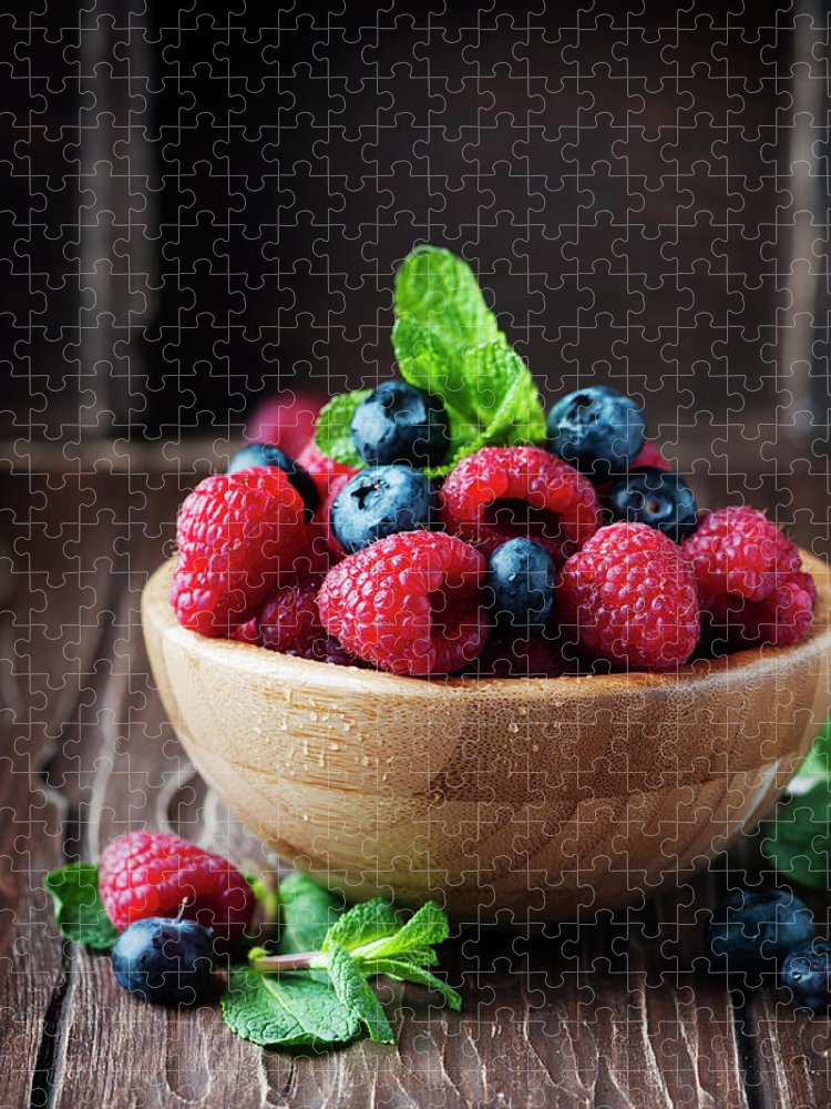 Vitamin Puzzle featuring the photograph Fresh Sweet Raspberry And Bluberry by Oxana Denezhkina