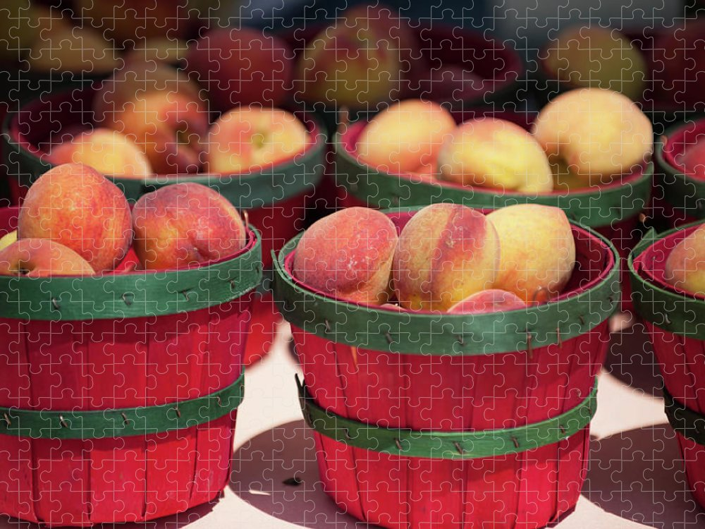 Retail Puzzle featuring the photograph Fresh Texas Peaches In Colorful Baskets by Txphotoblog - Randy Ennis