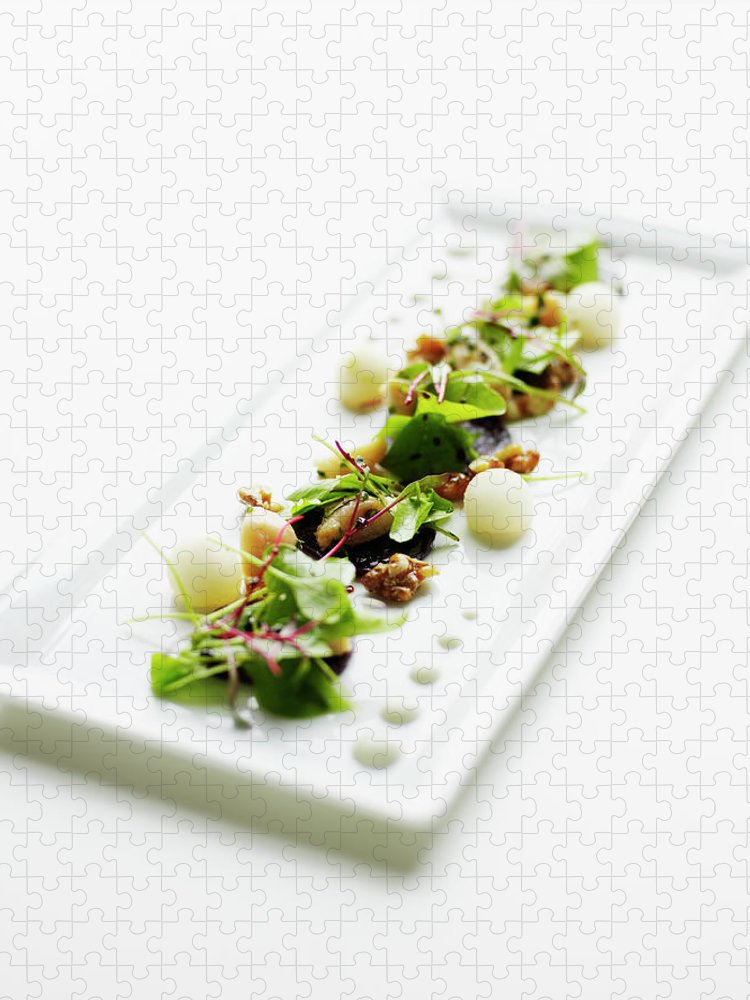 White Background Puzzle featuring the photograph Freshly Made Organic Baby Beet Salad by Thomas Barwick