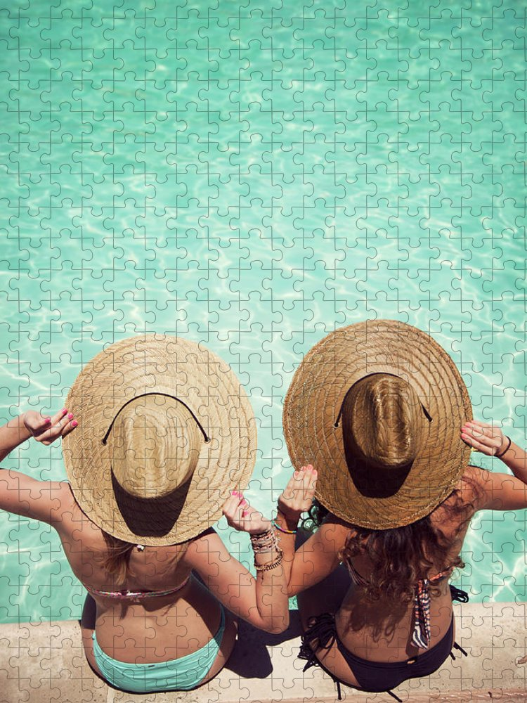 Fedora Puzzle featuring the photograph Friends By The Pool by Becon