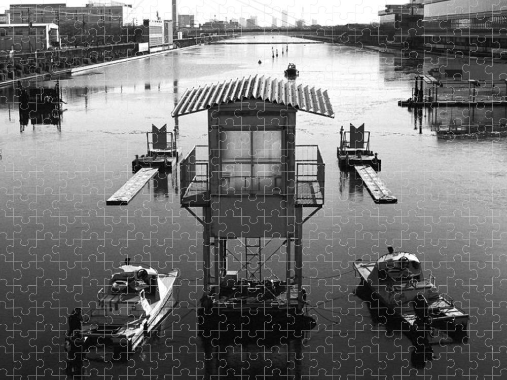 Standing Water Puzzle featuring the photograph Frozen Boat Course by Huzu1959