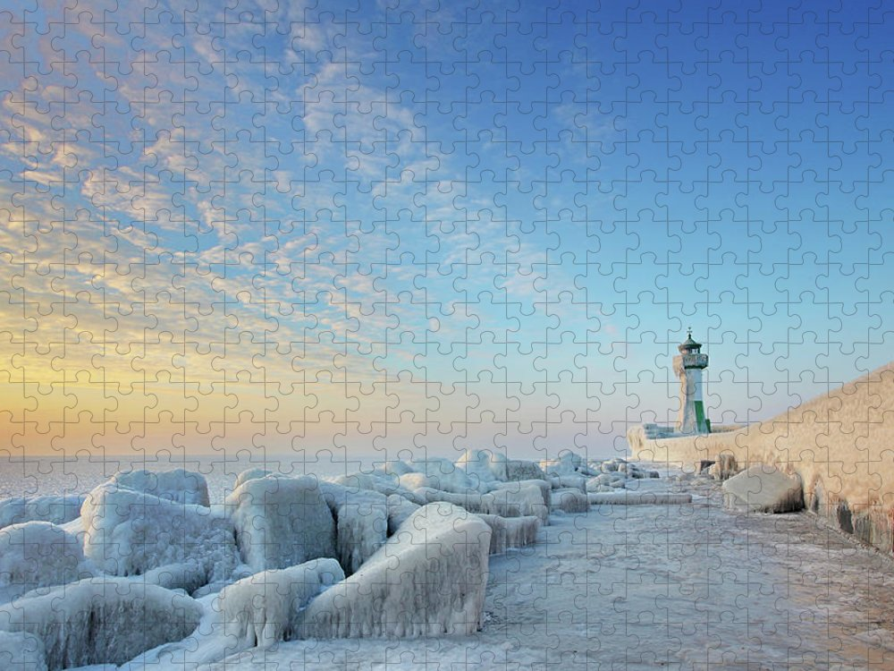 Dawn Puzzle featuring the photograph Frozen Lighthouse by Sandra Kreuzinger
