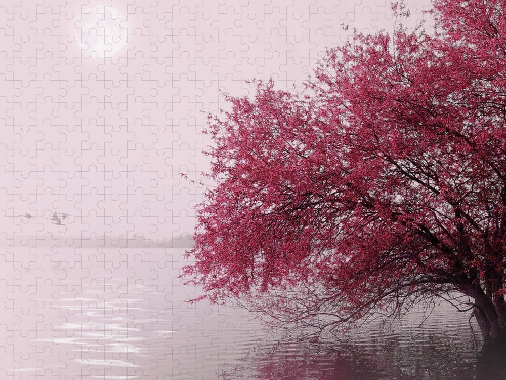 Outdoors Puzzle featuring the photograph Full Moon On The Lake by Philippe Sainte-laudy Photography