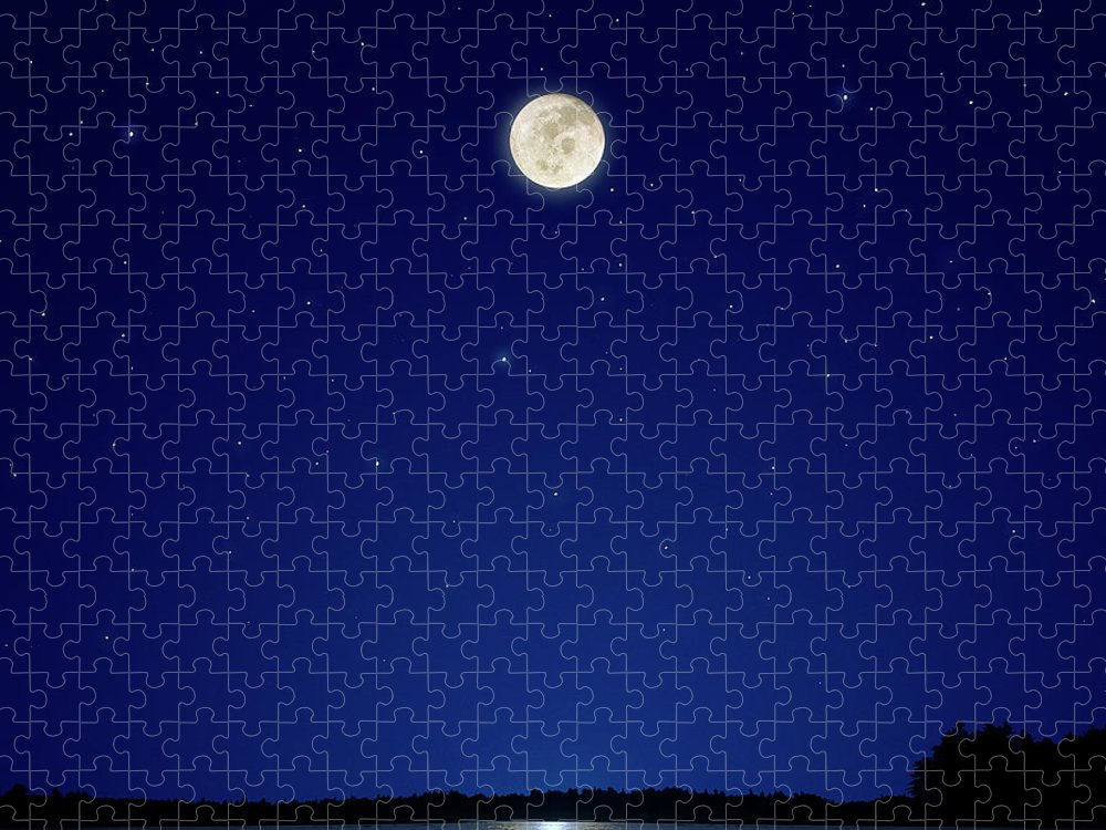 Constellation Puzzle featuring the photograph Full Moon Over New Hampshire by Soubrette