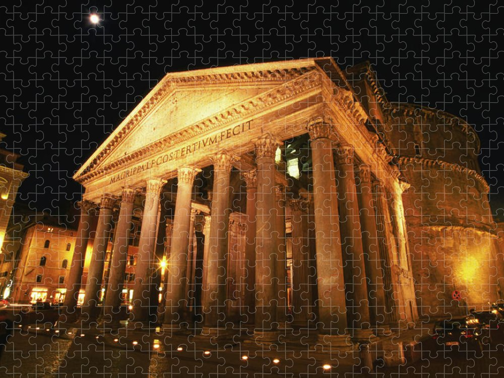 Pantheon Puzzle featuring the photograph Full Moon Over Pantheon And Portico by Lonely Planet