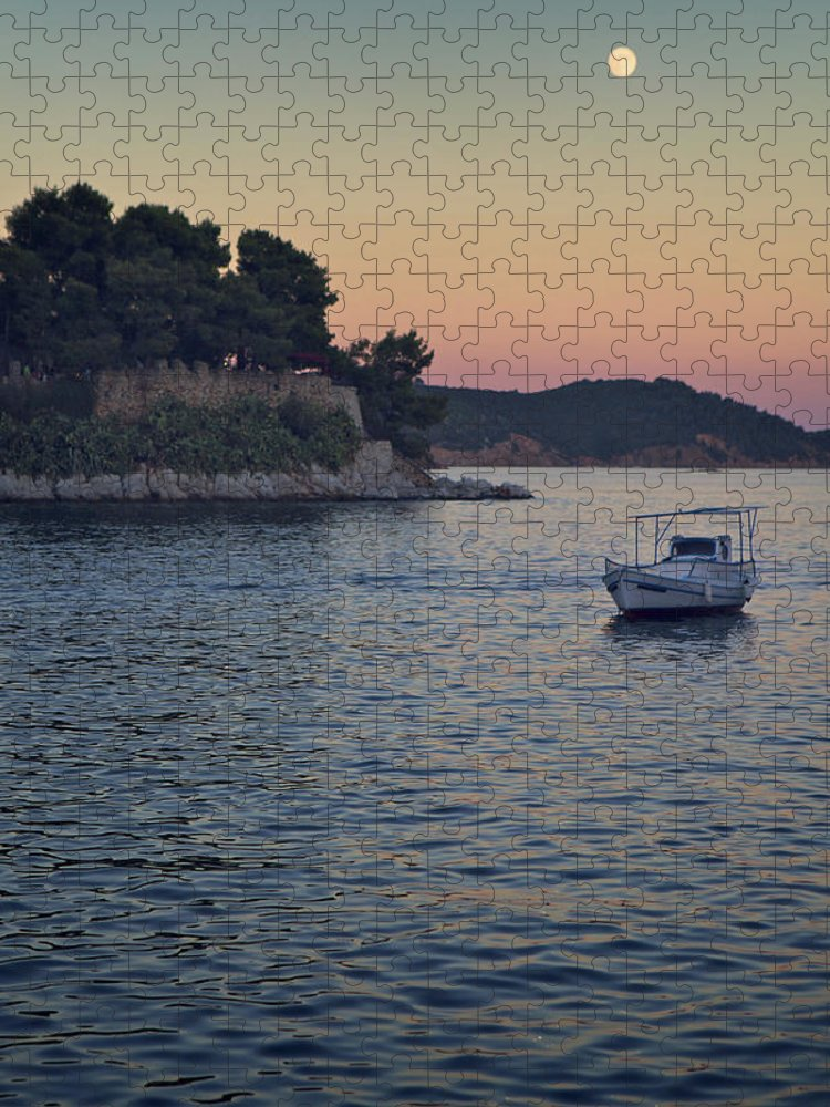Tranquility Puzzle featuring the photograph Full Moon Rising by Dreaming For A Living
