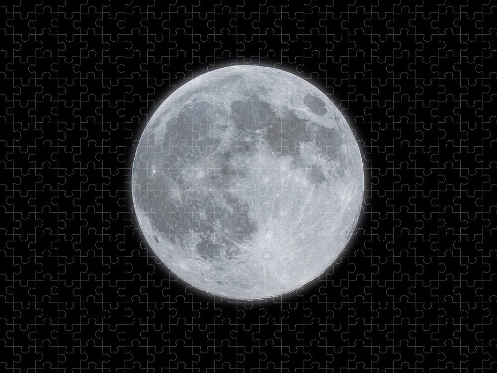 Sky Puzzle featuring the photograph Full Moon With Glow by Banksphotos