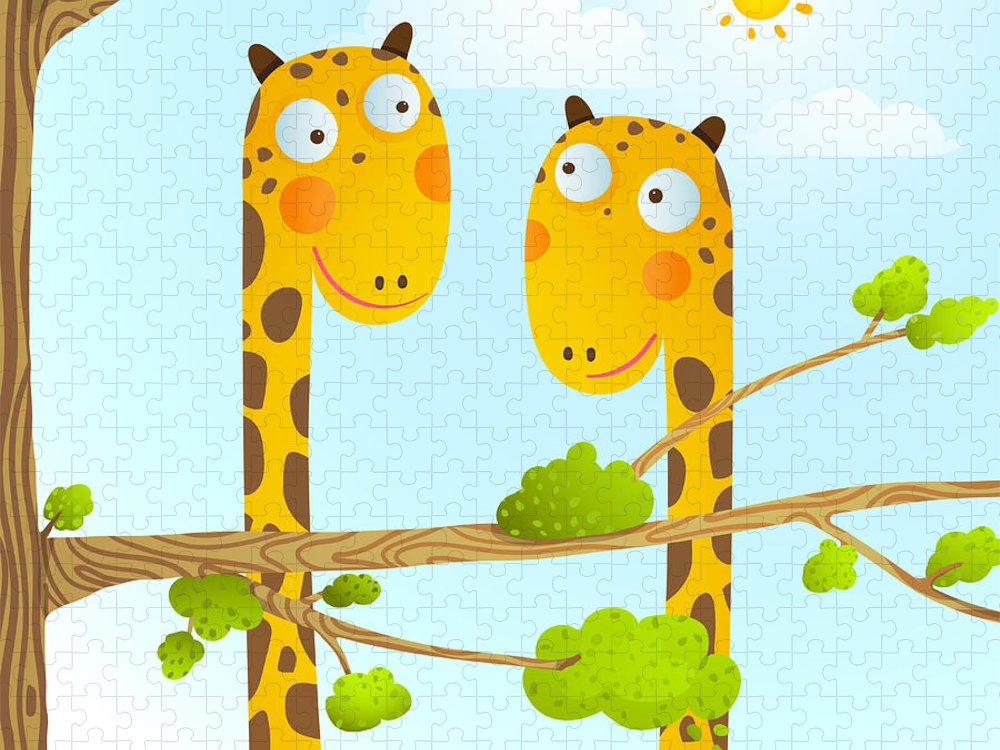 Queer Puzzle featuring the digital art Fun Cartoon Baby Giraffe Animals by Popmarleo