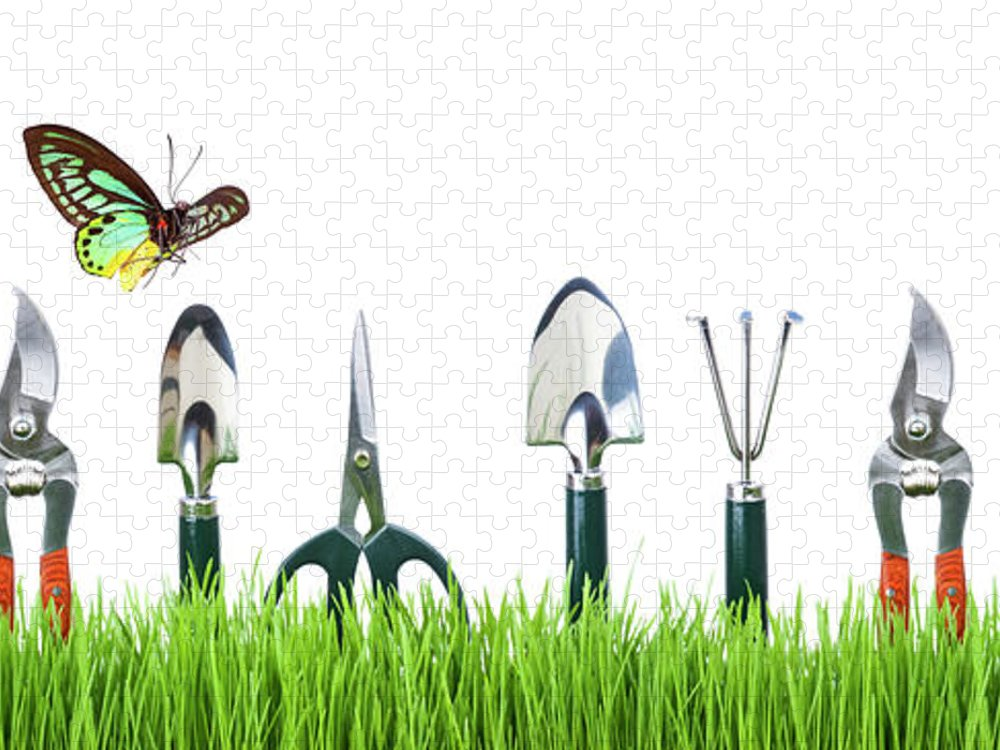 Grass Puzzle featuring the photograph Garden Tools by Liliboas