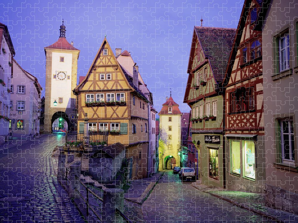 Tudor Style Puzzle featuring the photograph Germany, Bavaria, Rothenburg Ober Der by Walter Bibikow