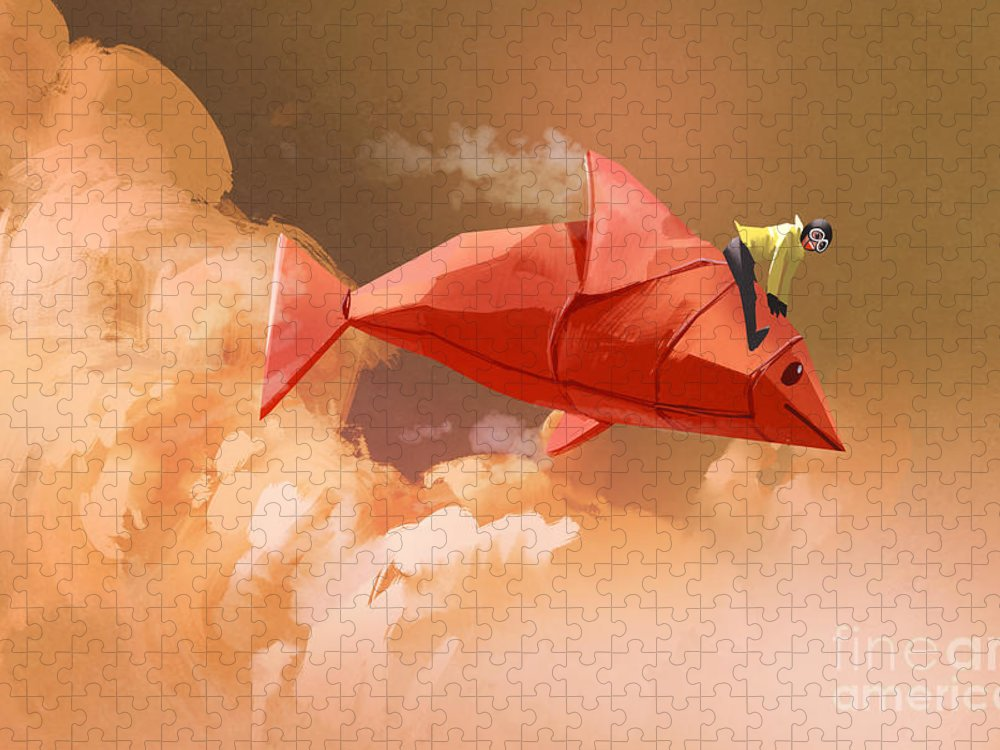 Sky Puzzle featuring the digital art Girl Riding On The Origami Paper Red by Tithi Luadthong