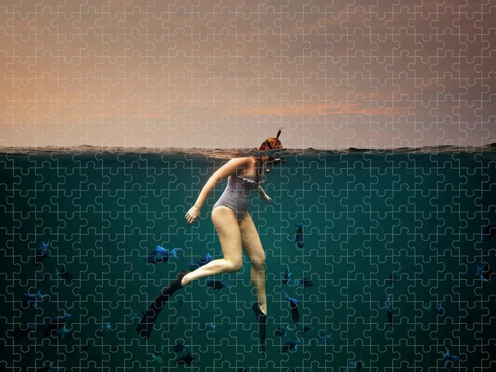 People Puzzle featuring the photograph Girl Snorkelling by Rjw