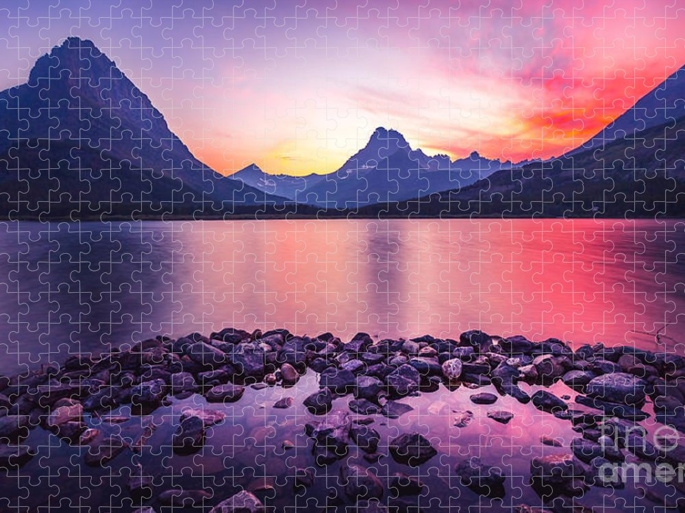 Sunset Puzzle featuring the photograph Glacier National Park by Larry Mcmillian