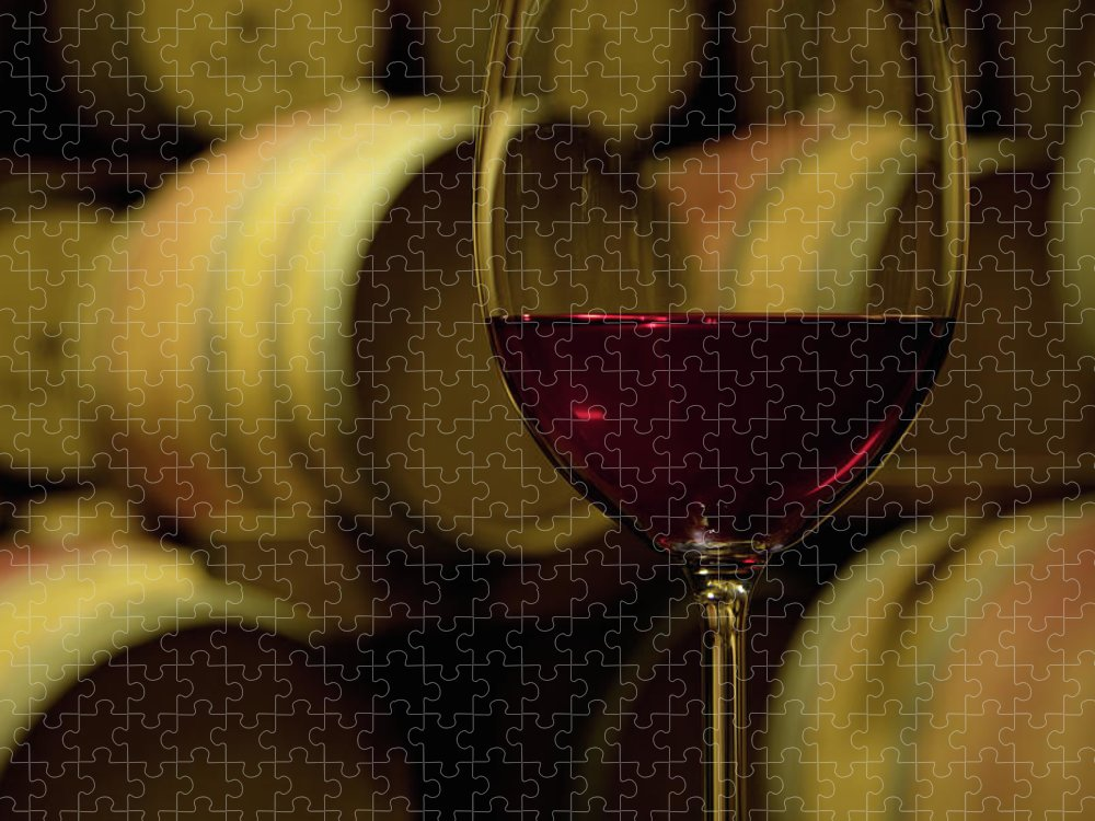 Stellenbosch Puzzle featuring the photograph Glass Of Red Wine In Wine Cellar by Siegfried Layda