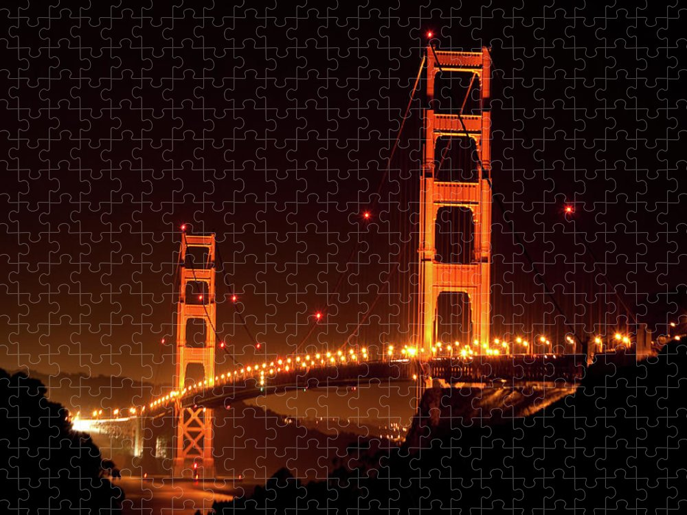 Scenics Puzzle featuring the photograph Golden Gate Bridge At Night by Imaginegolf