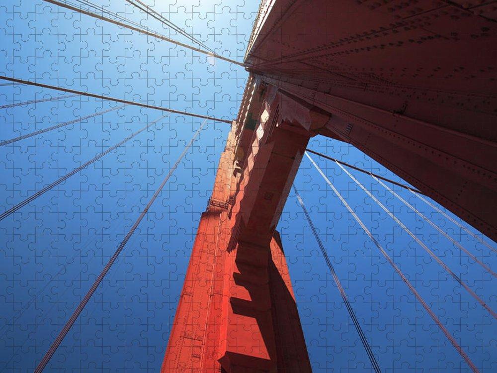 San Francisco Puzzle featuring the photograph Golden Gate Bridge Tower by Mortonphotographic