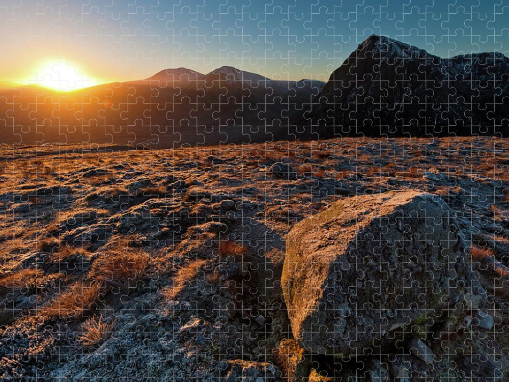 Rannoch Moor Puzzle featuring the photograph Golden Highland Dawn Glencoe Mountain by Fotovoyager