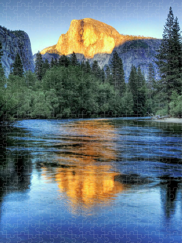 Scenics Puzzle featuring the photograph Golden Light On Half Dome by Mimi Ditchie Photography