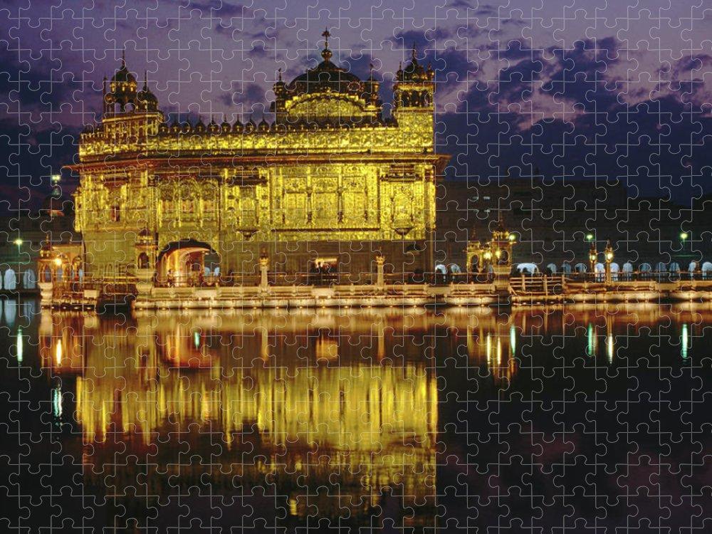 Golden Temple Puzzle featuring the photograph Golden Temple Harmandir Sahib On by Richard I'anson
