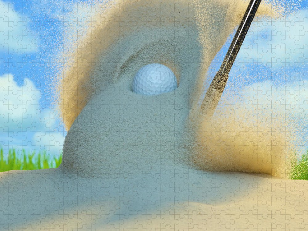 Drive Puzzle featuring the photograph Golf Ball Being Driven Out Of A Sand by Don Farrall