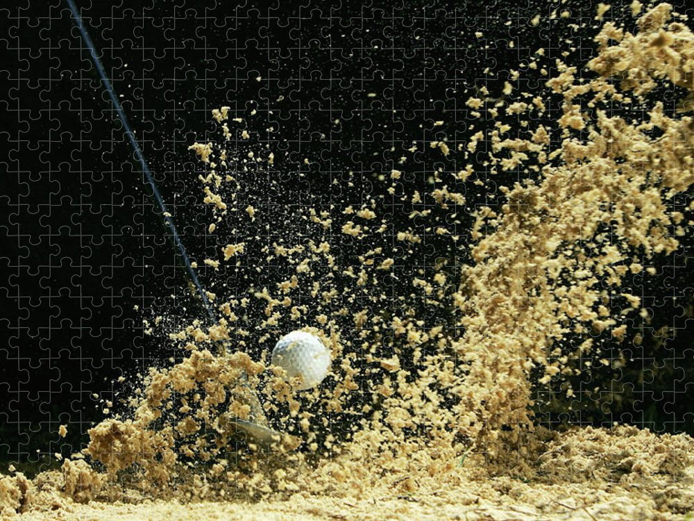 Sand Trap Puzzle featuring the photograph Golf Ball Being Hit by Kolbz