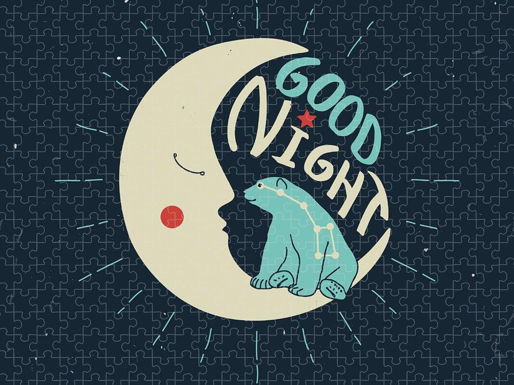 Bed Puzzle featuring the digital art Good Night Polar Bear With Ursa Major by Ksenia Martianova