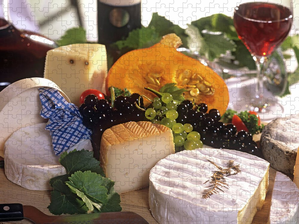Cheese Puzzle featuring the photograph Gourmet Cheese Plate With Red Wine by Clu