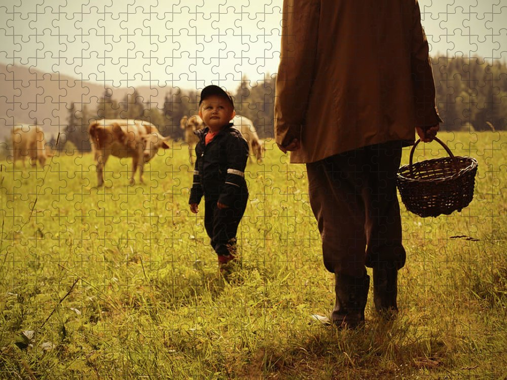 Three Quarter Length Puzzle featuring the photograph Grandfather Grandson by Rudolf Vlcek