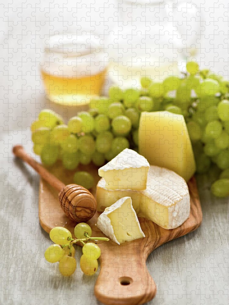 Cheese Puzzle featuring the photograph Grape, Honey And Cheese by Verdina Anna