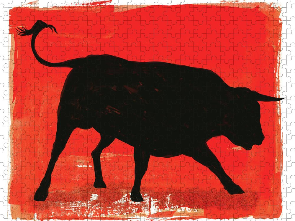 Bull Market Puzzle featuring the digital art Graphic Bull Illustration by Don Bishop