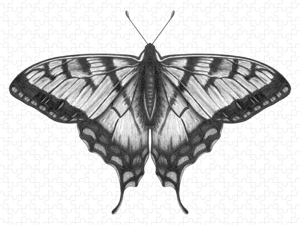 Art Puzzle featuring the digital art Graphite Illustration Of A Beautiful by Ranplett