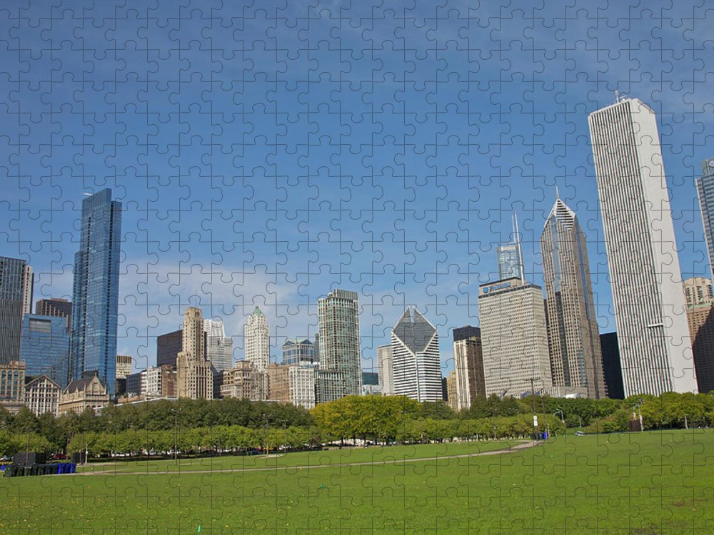 Tranquility Puzzle featuring the photograph Grassy Park In Front Of City Skyline by Barry Winiker