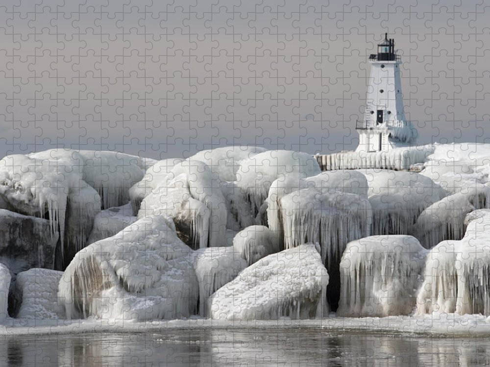 Water's Edge Puzzle featuring the photograph Great Lakes Lighthouse With Ice Covered by Jskiba
