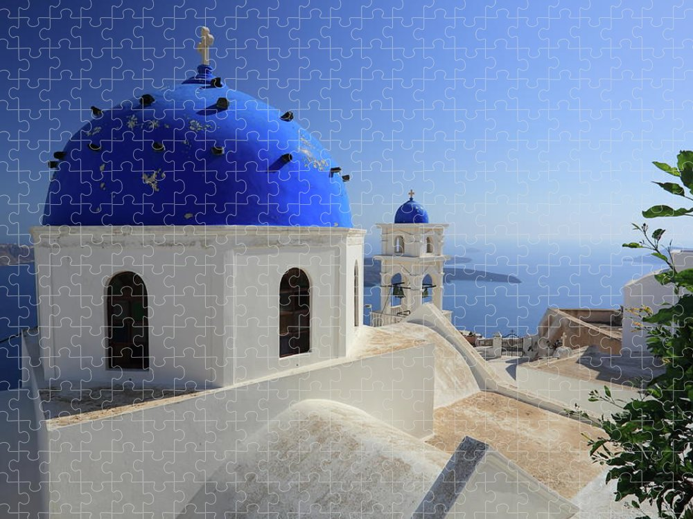 Greek Culture Puzzle featuring the photograph Greek Church In Santorini by Iñigo Escalante