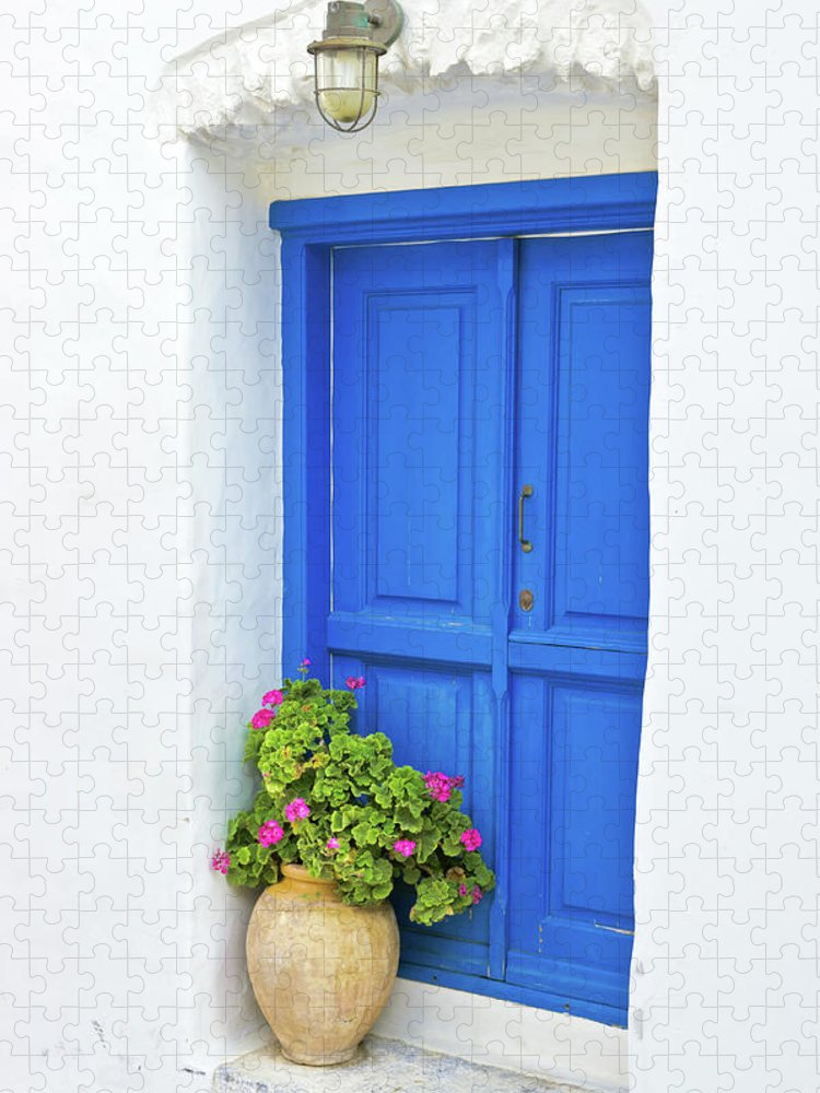 Greek Culture Puzzle featuring the photograph Greek Island Doorway by Abzee