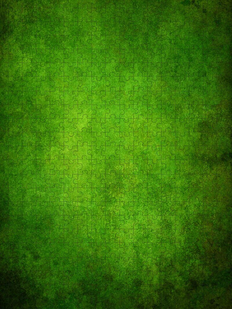 Stained Puzzle featuring the photograph Green Grunge Background by Mammuth