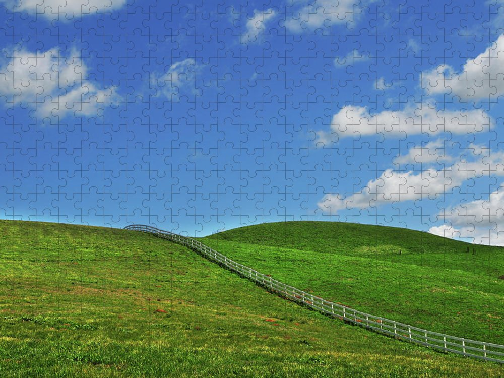 Scenics Puzzle featuring the photograph Green Hills And Fence by Mitch Diamond