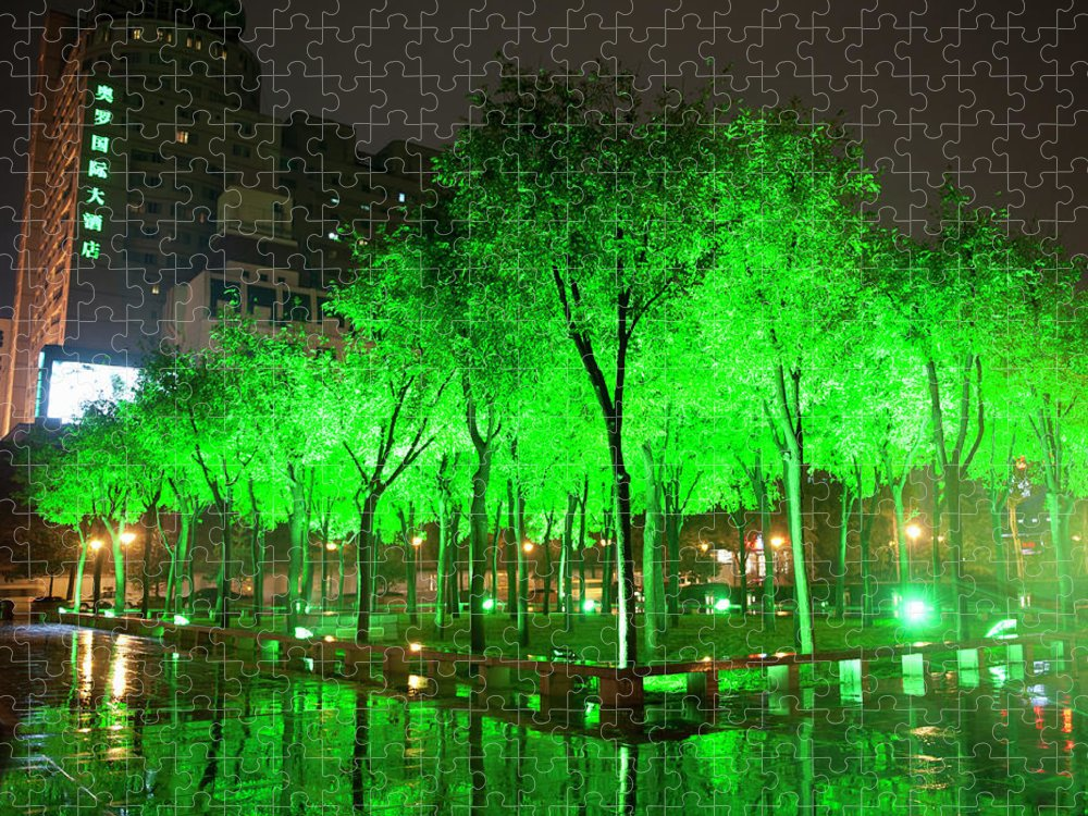 Outdoors Puzzle featuring the photograph Green Illuminated Trees, China by Shanna Baker