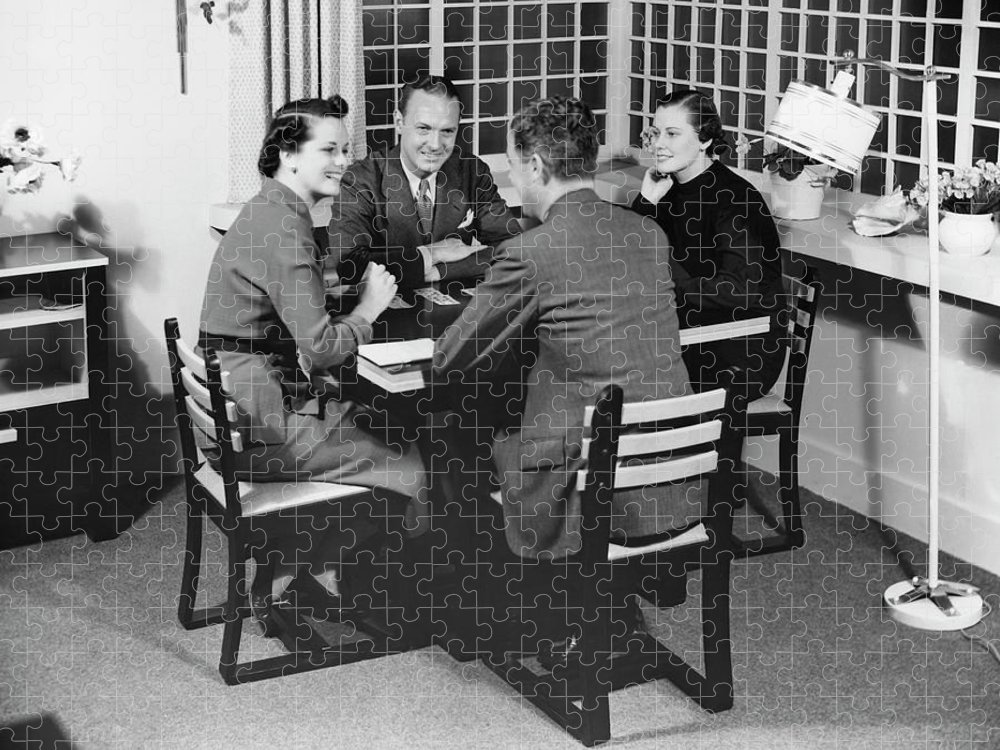 Heterosexual Couple Puzzle featuring the photograph Group At A Table by George Marks